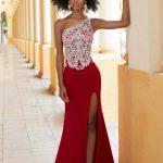 2020Abiye ve Gece Elbiseleri Kırmızı Uzun Tek Omzu Açık Derin Yırtmaçlı Nakış işlemeli