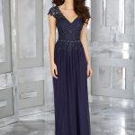 2018 Gece Elbiseleri Lacivert Uzun V Yakalı Dantelli