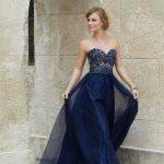 2020Abiye ve Gece Elbiseleri Laivert Uzun Straplez Tüllü Boncuk İşlemeli