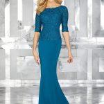 2018 Gece Elbiseleri Mavi Kayık Yaka Yetim Kollu Boncuklu