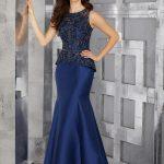 2018 Gece Elbiseleri Mavi Saten Uzun Kolsuz Boncuk İşlemeli