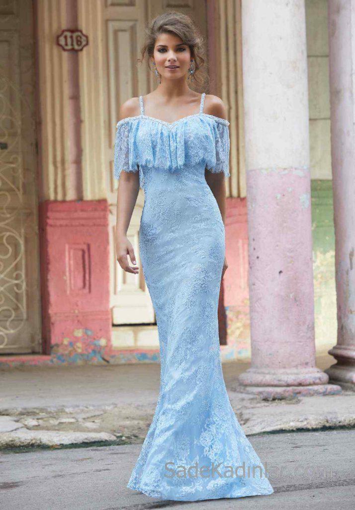 2020Abiye ve Gece Elbiseleri Mavi Uzun Askılı Dantel Boncuk İşlemeli