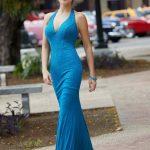 2020Abiye veGece Elbiseleri Mavi Uzun Askılı V Yakalı Boncuk İşlemeli