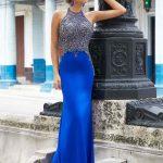 2020Abiye veGece Elbiseleri Saks Mavı Uzun Halter Yaka Boncuk işlemeli