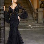 2020Abiye veGece Elbiseleri Siyah Uzun Balık V Yakalı Dantel İspanyol Kol