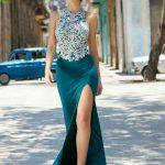 2020Abiye veGece Elbiseleri Yeşil Uzun Balık Derin Yırtmaçlı