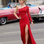 2020Abiye veGece Elbiseleri Şık Abiye Modelleri Kırmızı Uzun Tek Omuz Dantelli Derin Yırtmaçlı