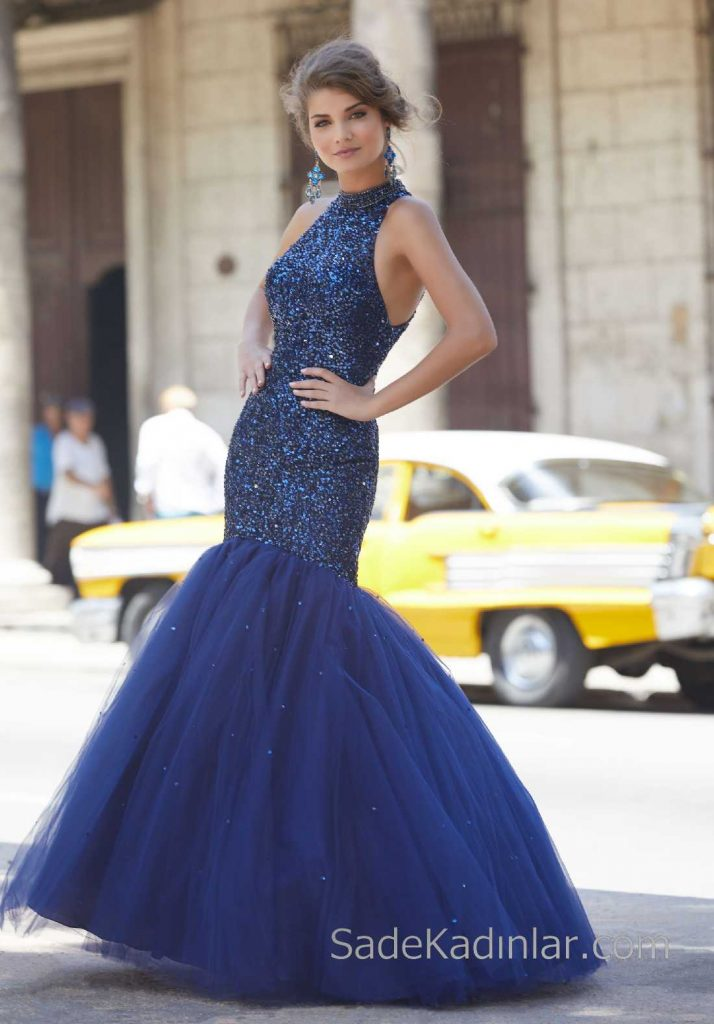 2020Abiye veGece Elbiseleri Şık Abiye Modelleri Lacivert Uzun Halter Yaka Boncuk İşlemeli Tüllü