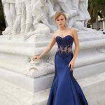 2020Abiye veGece Elbiseleri Şık Abiye Modelleri Mavi Uzun Balık Straplez Dantel Boncuklu