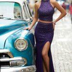 2020Abiye veGece Elbiseleri Şık Abiye Modelleri Mor Uzun Halter Yaka İki Parça Boncuklu