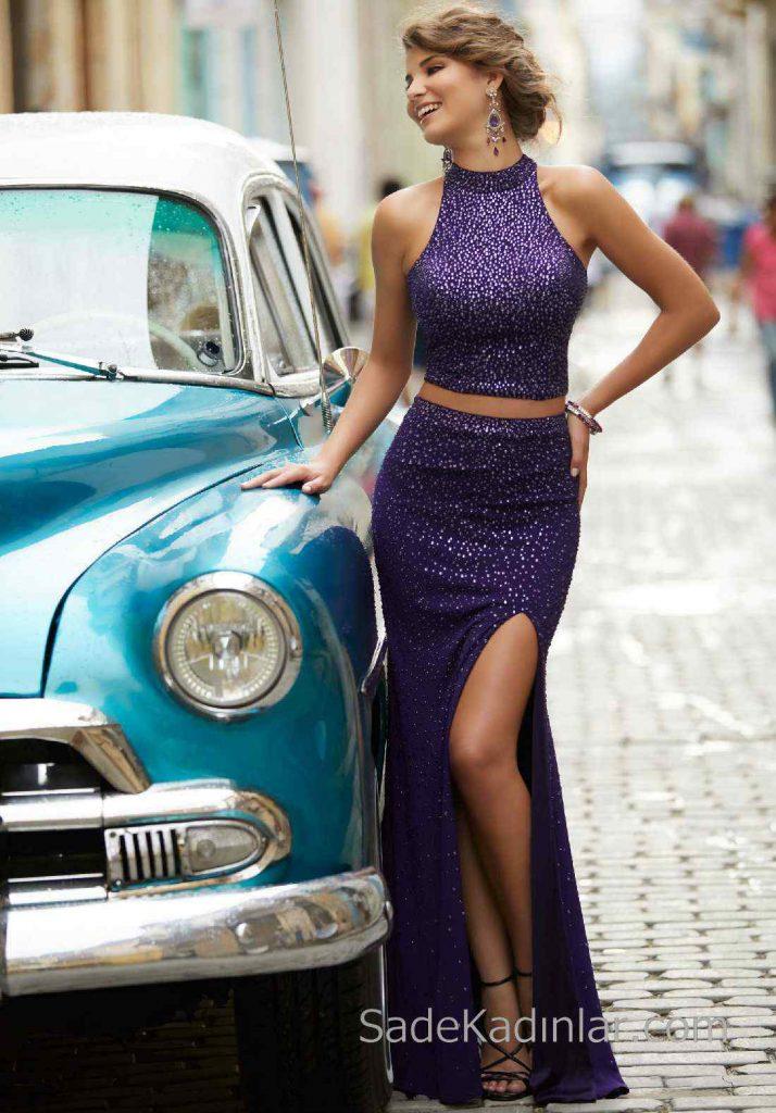 2018Gece Elbiseleri Şık Abiye Modelleri Mor Uzun Halter Yaka İki Parça Boncuklu
