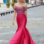 2020Abiye veGece Elbiseleri Şık Abiye Modelleri Pembe Uzun Deniz Kızı Nakış İşlemeli