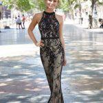 2020Abiye veGece Elbiseleri Şık Abiye Modelleri Siyah Uzun Halter Yaka Dantelli Boncuklu