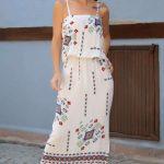 2019 Günlük Elbise Modelleri Beyaz Uzun Askılı Kilim Desenli