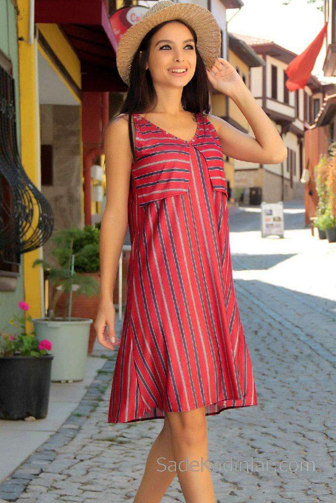 2019 Günlük Elbise Modelleri Kırmızı Kısa Askılı V Yakalı Çizgili