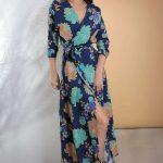 2019 Günlük Elbise Modelleri Lacivert Uzun V Yakalı Belden Bağlamalı Yırtmaçlı
