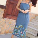 2019 Günlük Elbise Modelleri Mavi Uzun Askılı Çiçek Desenli