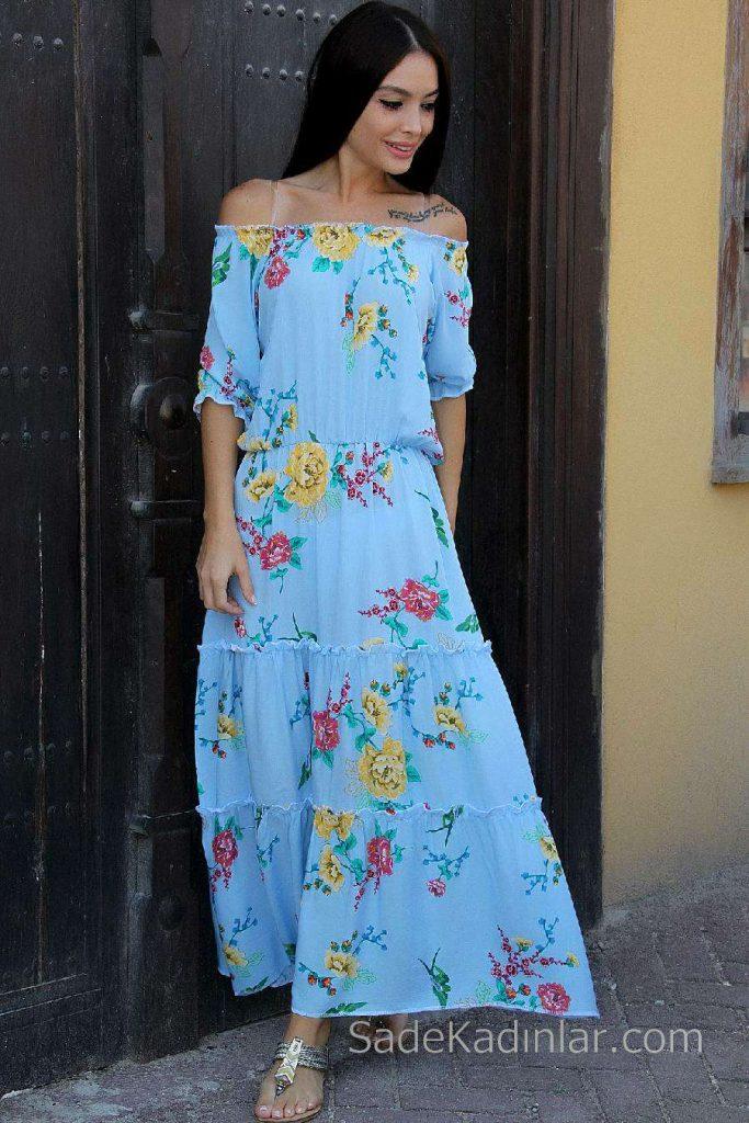 2019 Günlük Elbise Modelleri Mavi Uzun Straplez Çiçek Desenli