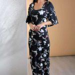 2019 Günlük Elbise Modelleri Siyah Uzun Kısa Kollu Çiçek Desenli