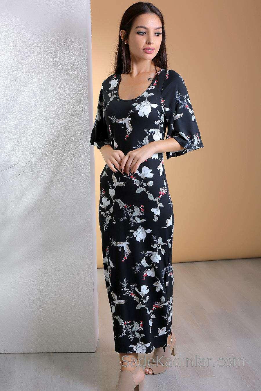 a696736e43484 2019 Günlük Elbise Modelleri Siyah Uzun Kısa Kollu Çiçek Desenli ...