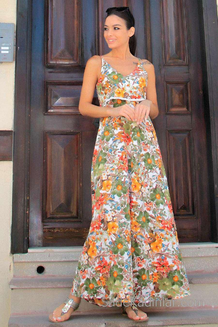 2020 Günlük Elbise Modelleri Turuncu Uzun Askılı Çiçek Desenli