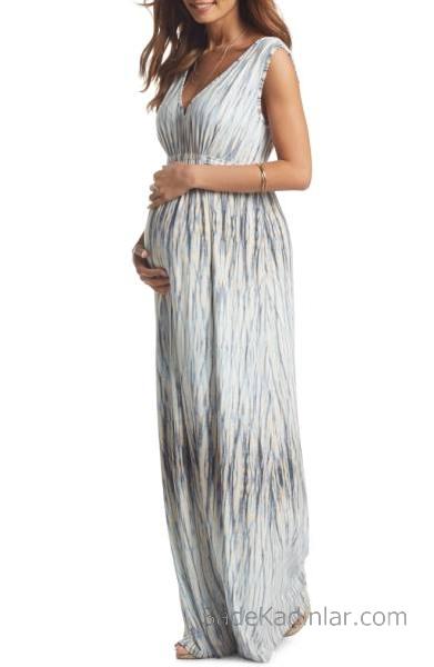 2021 Hamile Elbiseleri Beyaz Uzun V Yakalı