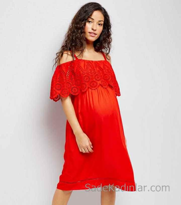 2021 Hamile Elbiseleri Kırmızı Askılı Düşük kollu Dantelli