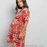 2018 Hamile Elbiseleri Kırmızı V Yakalı Kısa Kollu Kuşaklı