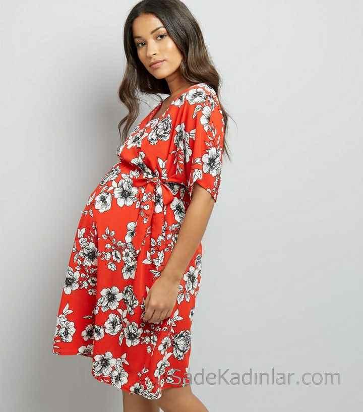 2021 Hamile Elbiseleri Kırmızı V Yakalı Kısa Kollu Kuşaklı