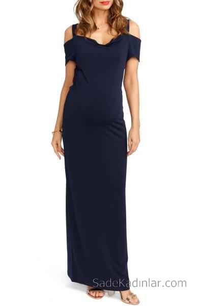 2021 Hamile Elbiseleri Lacivert Uzun Askılı Düşük Kollu
