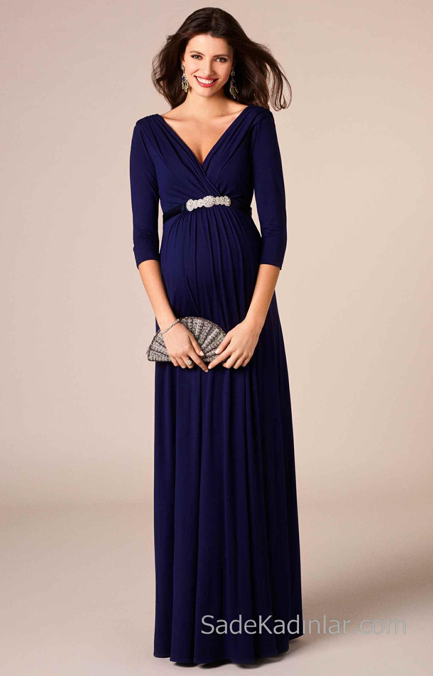 2021 Hamile Elbiseleri Lacivert Uzun V Yakalı Beli Taş Kemerli