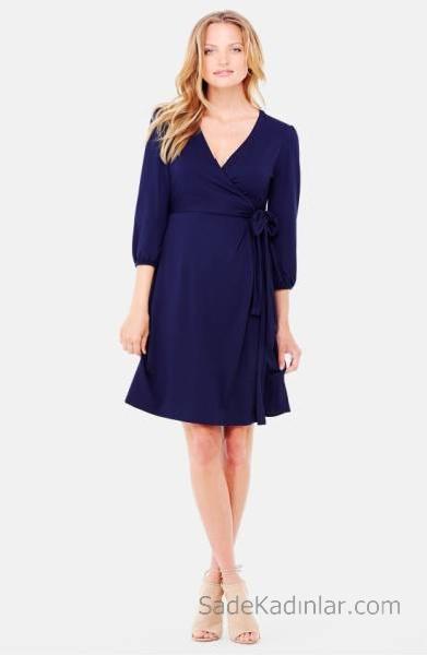 2021 Hamile Elbiseleri Lacivert V Yakalı beli Kuşaklı