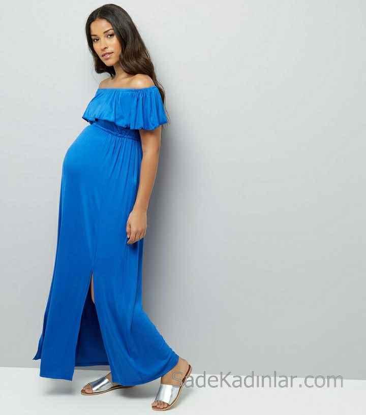 2021 Hamile Elbiseleri Mavi Omzu Açık Kısa Kollu Yandan Yırtmaçlı