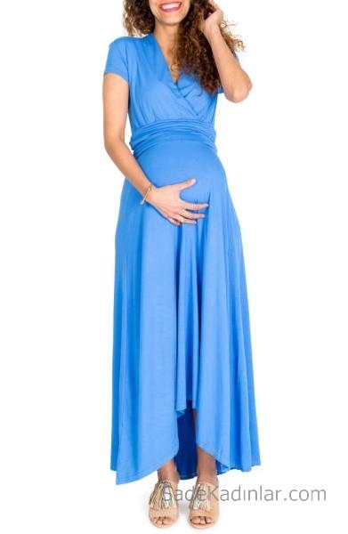 2021 Hamile Elbiseleri Mavi V Yakalı Kısa Kollu