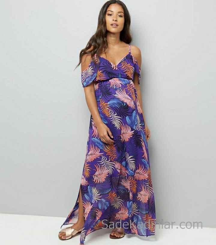 2021 Hamile Elbiseleri Mor Uzun Askılı Düşük Kollu Desenli