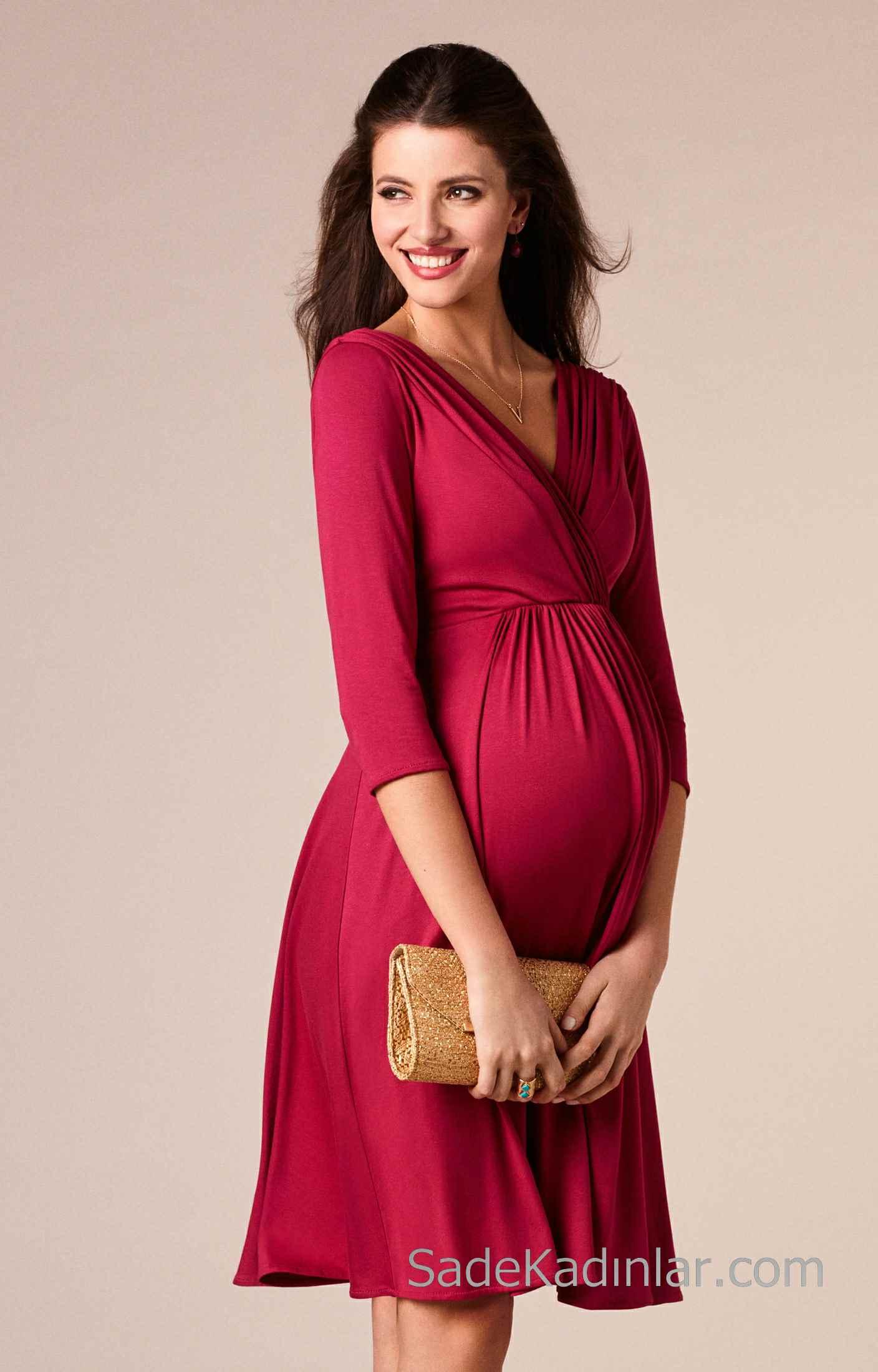2021 Hamile Elbiseleri Pembe V Yakalı Yetim Kollu