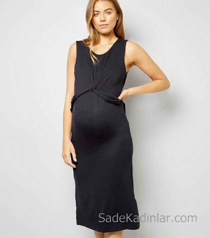 2021 Hamile Elbiseleri Siyah Kolsuz Yuvarlak Yaka