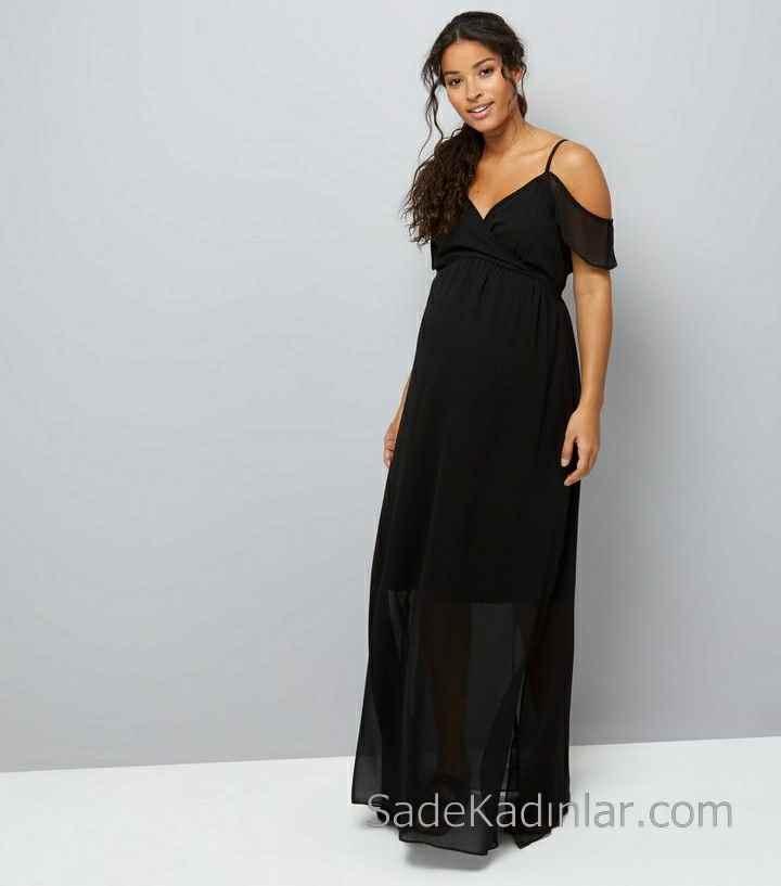 2021 Hamile Elbiseleri Siyah Uzun İp Askılı Kalp Yaka