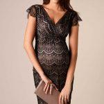 2018 Hamile Elbiseleri Siyah V Yakalı Kısa Kollu Dantelli