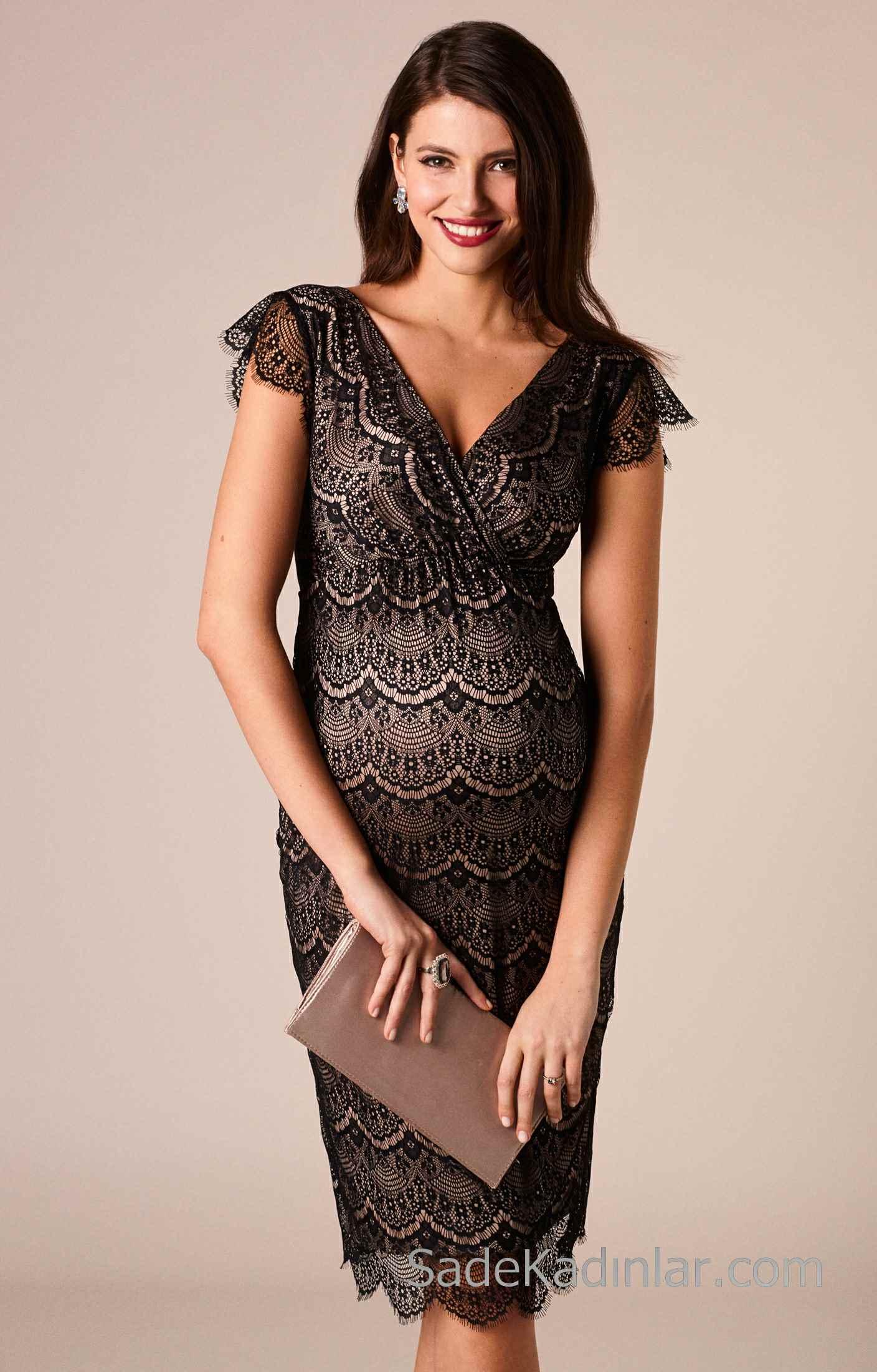 2021 Hamile Elbiseleri Siyah V Yakalı Kısa Kollu Dantelli
