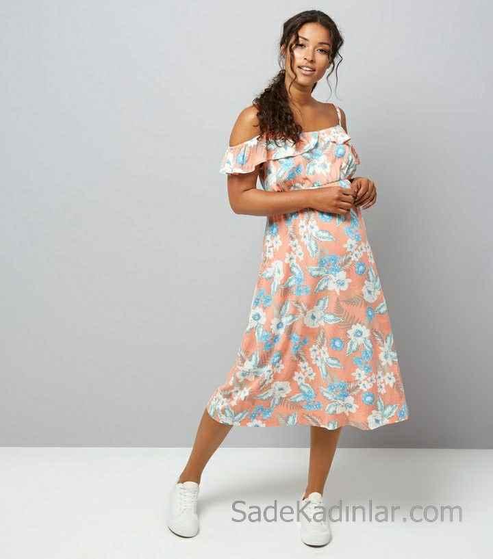 2021 Hamile Elbiseleri Yavruağzı Askılı Düşük Kollu Çiçekli