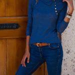 2018 Kazak Modelleri Mavi Mendil Yaka Düğmeli