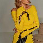2018 Kazak Modelleri Sarı Kayık Yaka Bağlamalı Kazak