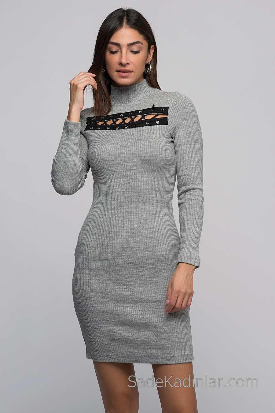 c22fa06d9f81a 2018 Kışlık Elbise Modelleri Gri Kısa Boğazlı Önü Kuş Gözü Detaylı ...