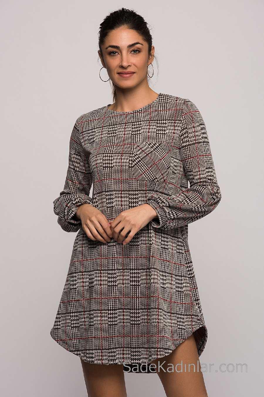 2ae5e94e7d106 2018 Kışlık Elbise Modelleri Gri Kısa Yuvarlak Yaka Ekose Desenli ...