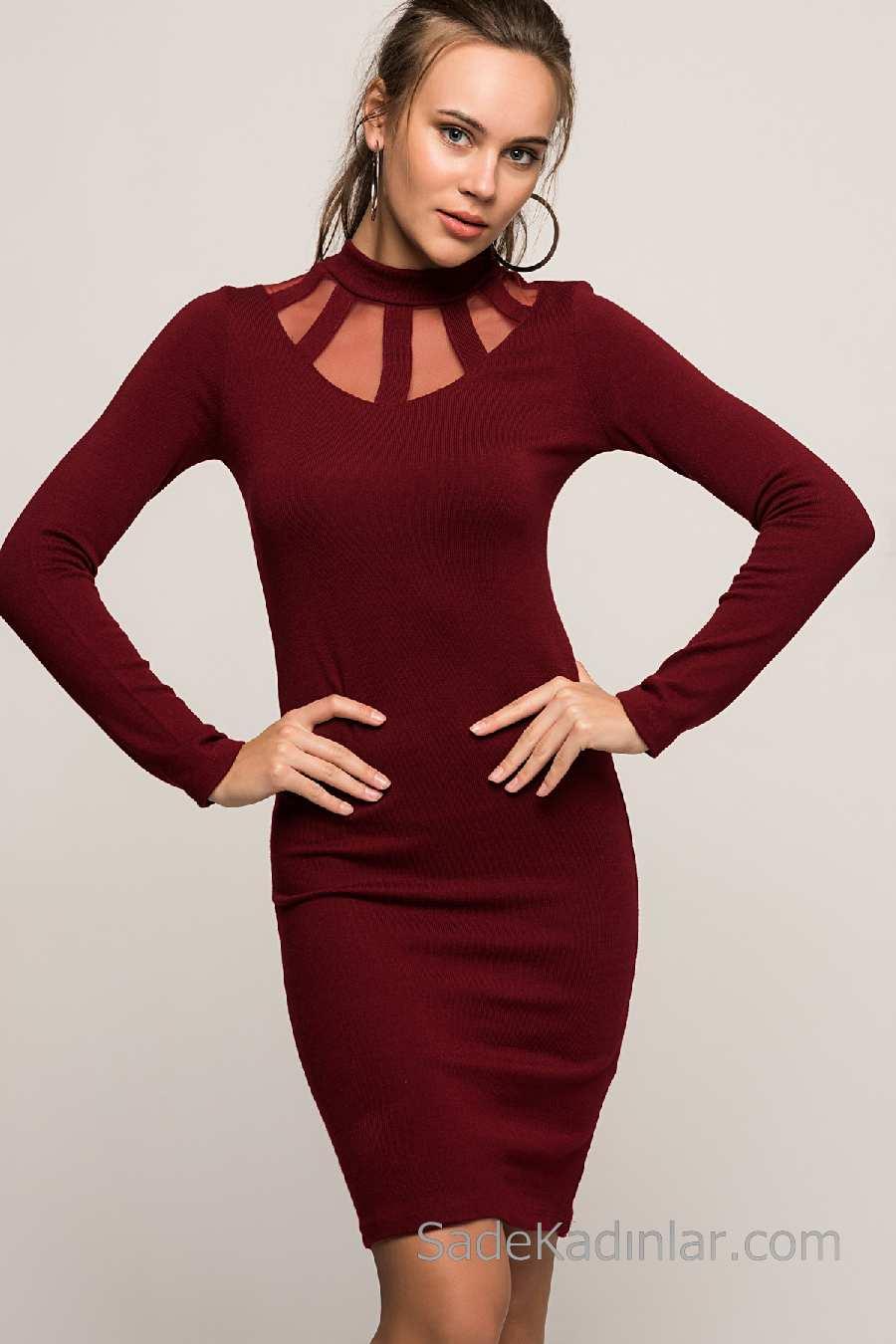 a0dabc7123a23 2018 Kışlık Elbise Modelleri Kırmızı Kısa Yarım Boğazlı Yakası Tüllü ...