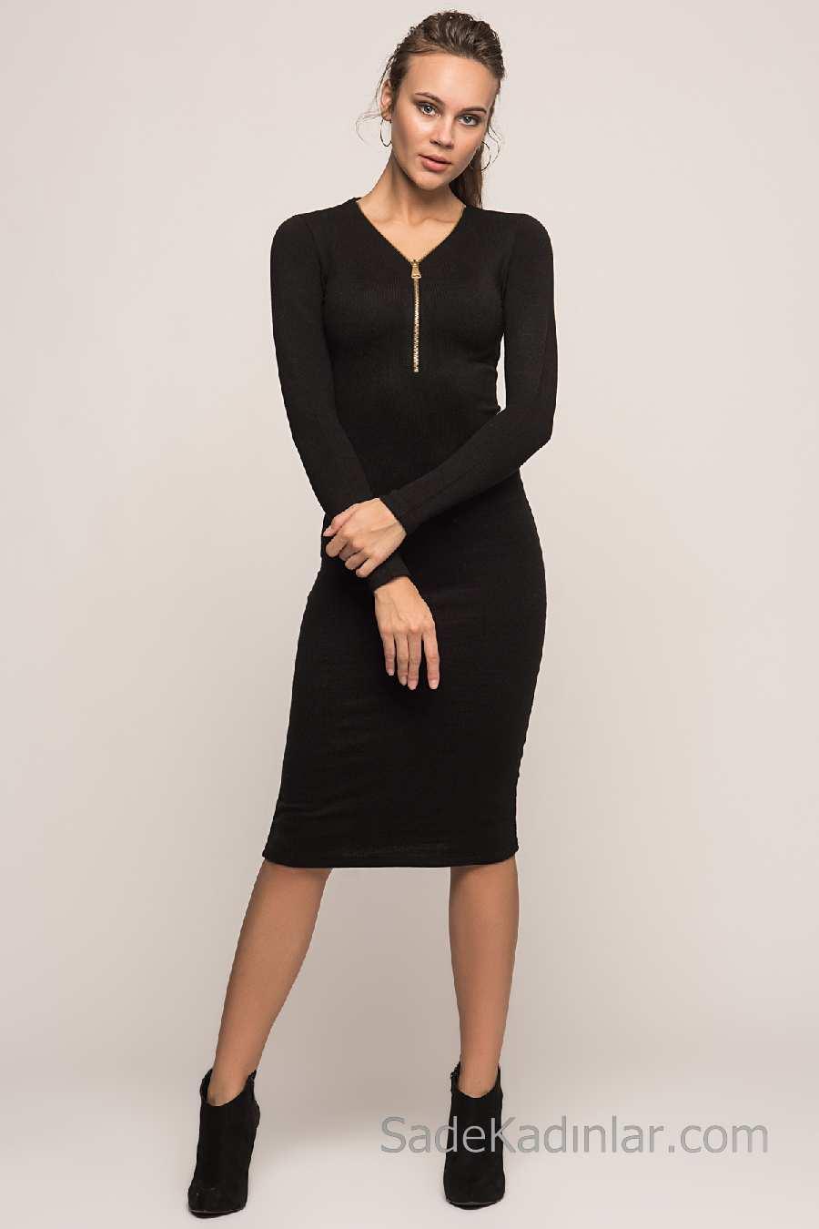 410cfc2553cbf 2018 Kışlık Elbise Modelleri Siyah Diz Altı V Yakalı Fermuarlı · «