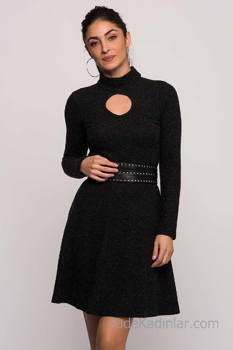 13bc85aa2e8e4 2018 Kışlık Elbise Modelleri Siyah Kısa Yarım Boğazlı Kemerli ...
