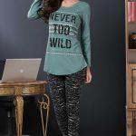 2018 Pijama Takımları Gri Yeşil İki Renkli Yazı Baskılı