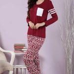 2018 Pijama Takımları Kırmızı Desenli